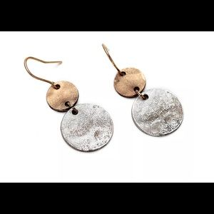 Vintage Retro silver Plated  Brass Dangle  Earring